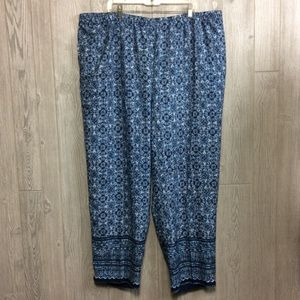 New Blue Printed Pants PLUS SIZE 2X 3X